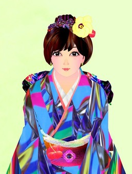New Year's in Kimono (Face Enlarged Version)