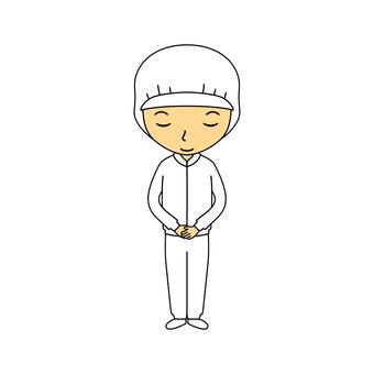 Female full body work clothes white 3