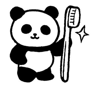 Tooth brush panda (monochrome)