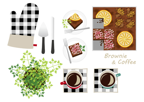 Brownies and coffee set seen from the top