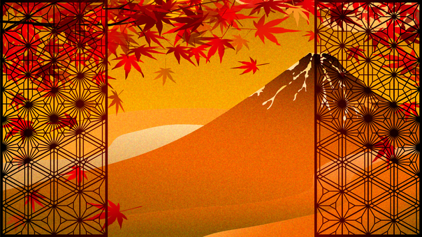 Autumn leaves and braids on gilt-style wind red Fuji