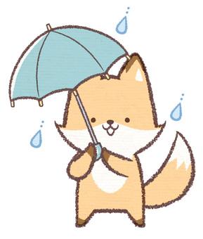 傘さしキツネ