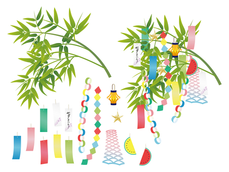 Tanabata decoration bamboo leaf set
