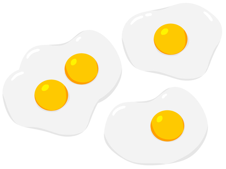 Three sets of fried eggs