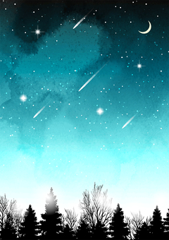 Watercolor wind winter night sky background