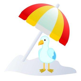 Beach umbrellas and birds