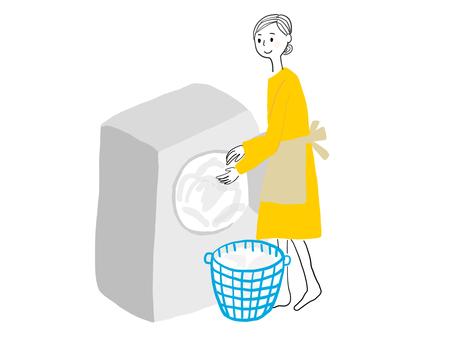 세탁하는 여자