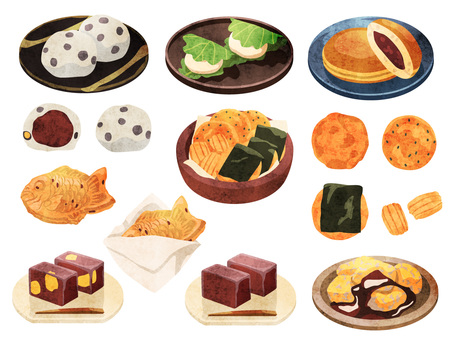 Cooking_Japanese confectionery_Set 2_Watercolor