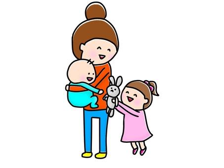 Hug hold baby mama older sister