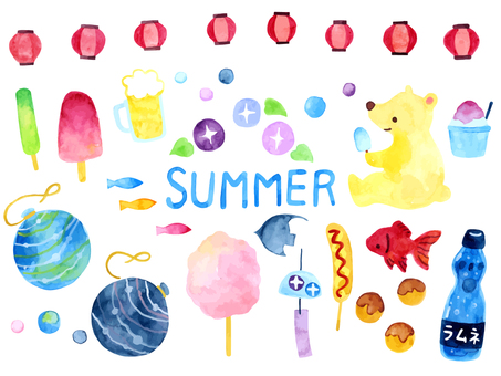 Summer festival watercolor illustration collection