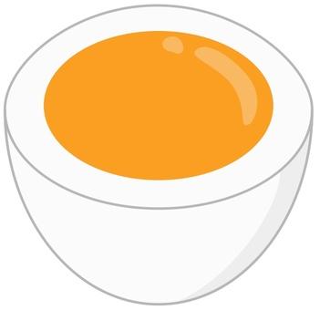 Boiled egg half half boiled