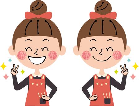 Peace Rejoice Girls Long Sleeves Smile Waist Up