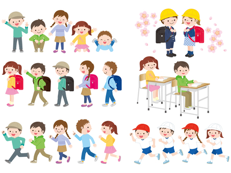 Set of elementary school children