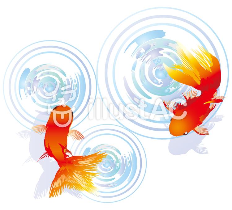 金魚アイコン背景波紋水面和風和柄壁紙装飾イラスト No 496603無料