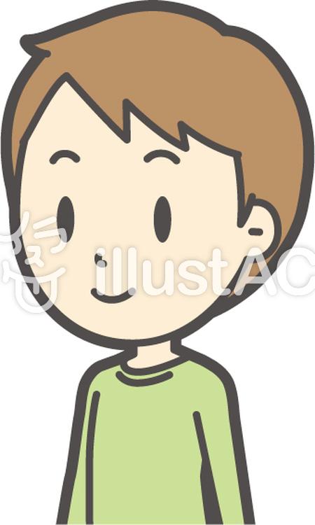 男の子グリーン長袖-348-バストのイラスト