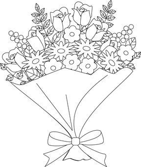 Coloring flower bouquet