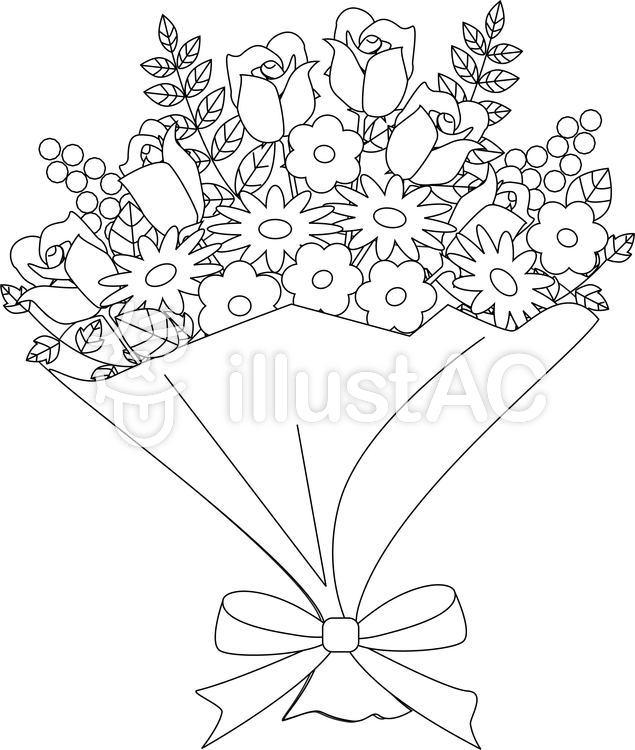 花束 ぬりえ. 花束 ぬりえのイラスト