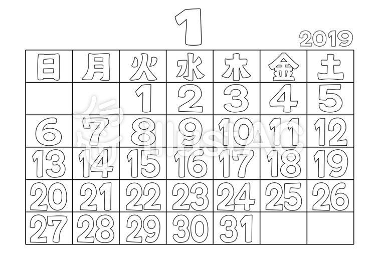 ぬりえカレンダー2019年1月イラスト No 1248255無料イラストなら