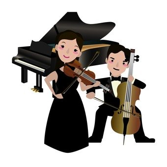 Female violinist and male cellist and grand piano