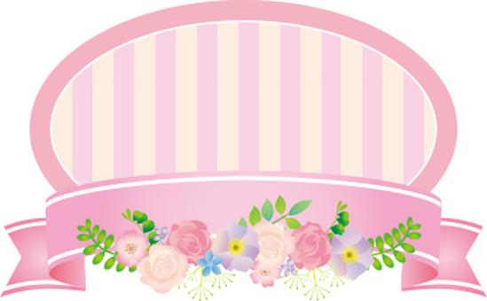 Flower ribbon label pink