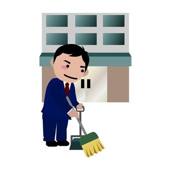 Cleaning in front of the company