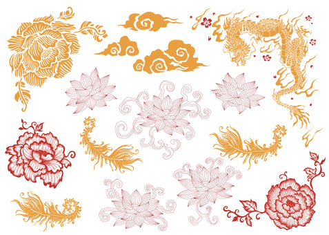 Chinese pattern set material