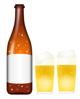 Glass with bottled beer and beer