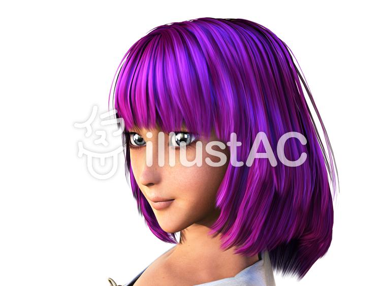 紫の髪の少女のイラスト