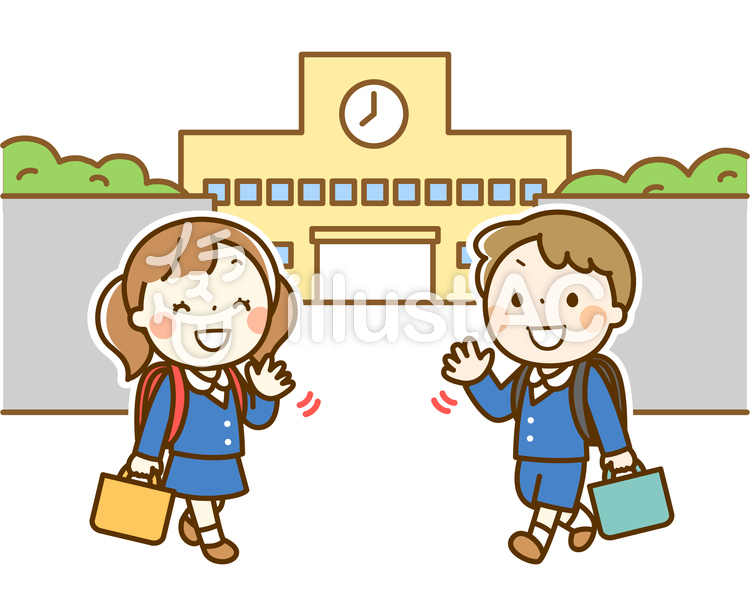 小学校へ登校してくる男の子と女の子のイラスト