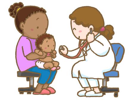 진찰을받는 외국인의 아기