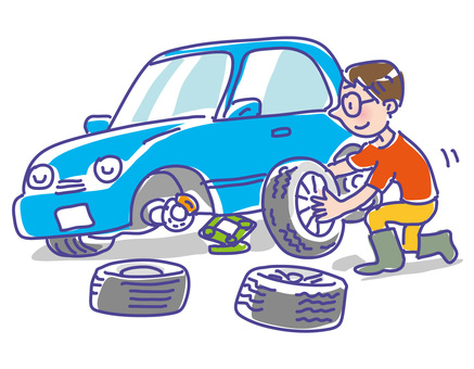 A man exchanging a tire of a blue car