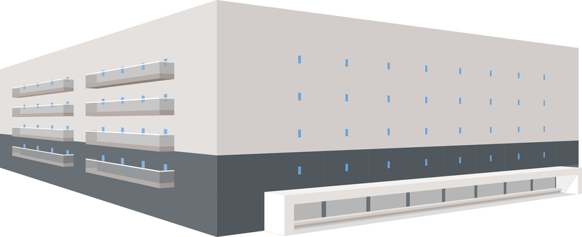 Building large warehouse three-dimensional