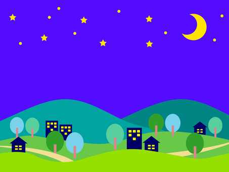 Night cityscape background material-summer