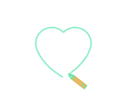 Drawing with crayons Green Heart