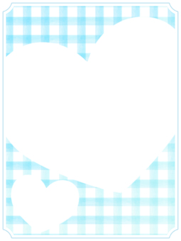 Check and Heart Frame 1 Blue
