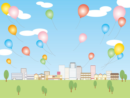 Townscape and balloons