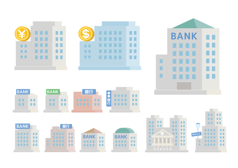 Bank illustration building