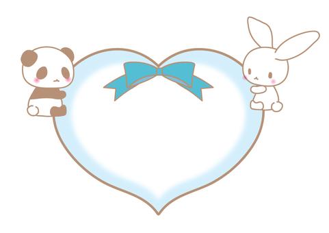 Heart cling Panda and rabbit illustrations