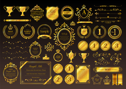 Gold frame ornament set 02