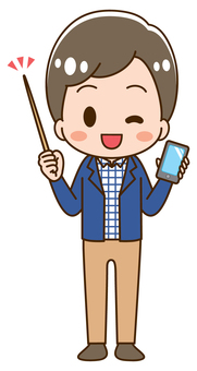 Man holding a smartphone Pose with a pointer