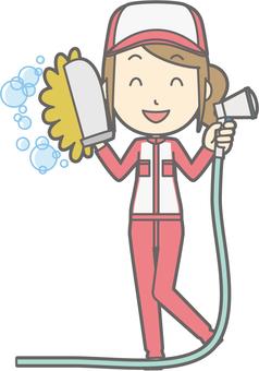 Mechanic woman - car wash - whole body