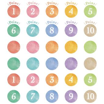 水彩の数字アイコン
