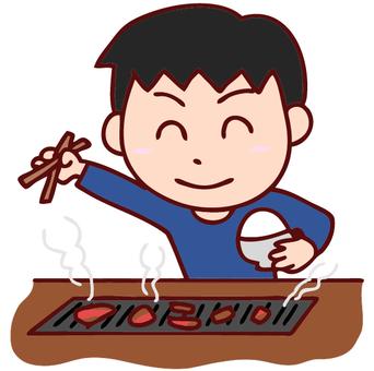 一個男孩吃烤肉的插圖