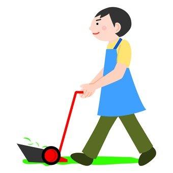 Men using lawn mowers