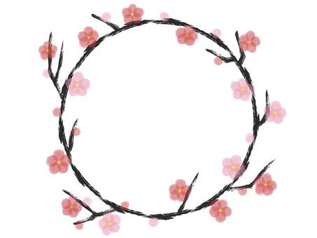 Circular plum frame watercolor