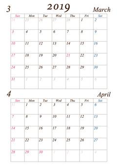 March-April 2019 A4 calendar modified version