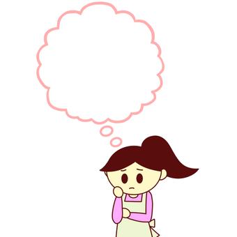 뭔가를 생각하는 여성