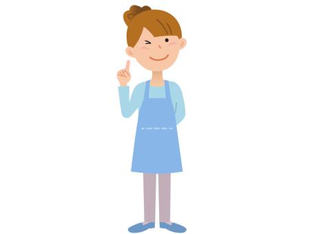 70110. Female apron, finger pointing