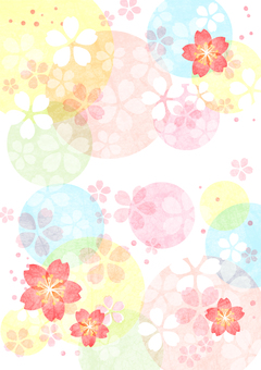 Watercolor style cherry blossom and circle colorful background