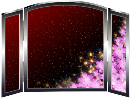 Luxurious cherry blossoms folding screen 04